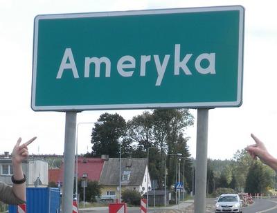 Znak informacyjny miejscowość Ameryka