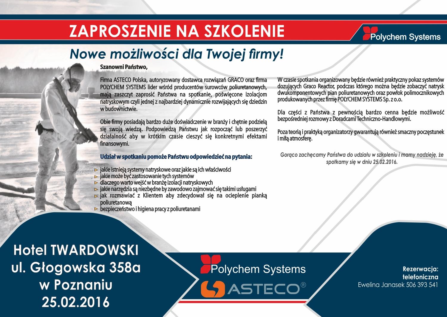 Polychem Systems Sp. z o.o. zaprasza na szkolenie